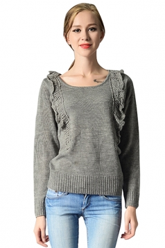 Womens Pretty Ruffled Long Sleeve Pullover Plain Sweater Gray