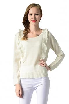 Womens Pretty Ruffled Long Sleeve Pullover Plain Sweater White
