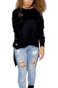 Womens Loose Ripped High-low Long Sleeve Plain Sweater Black