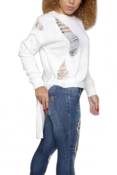 Womens Loose Ripped High-low Long Sleeve Plain Sweater White