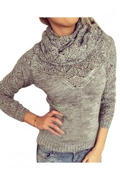 Womens Infinity Scarf Hollow Out Long Sleeve Pullover Sweater Gray