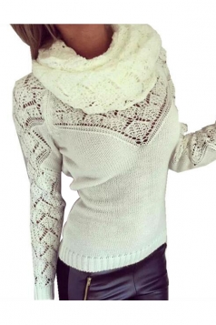Womens Infinity Scarf Hollow Out Long Sleeve Pullover Sweater White