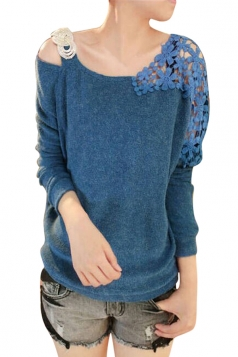 Womens Cold Shoulder Lace Splicing Long Sleeve Pullover Sweater Blue