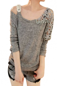 Womens Cold Shoulder Lace Splicing Long Sleeve Sweater Light Gray