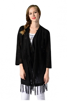 Womens Fringed Long Sleeve Hollow Out Plain Cardigan Sweater Black