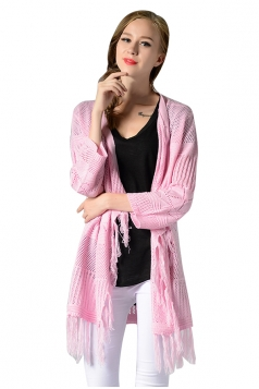 Womens Fringed Long Sleeve Hollow Out Plain Cardigan Sweater Pink