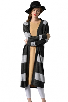Womens Striped Long Sleeve Knee Length Cardigan Sweater Gray