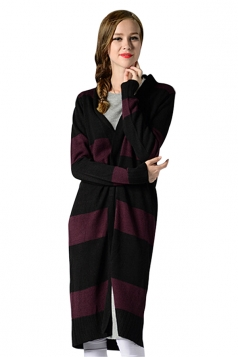 Womens Striped Long Sleeve Knee Length Cardigan Sweater Ruby