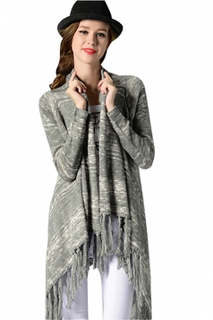 Womens Printed Fringed Long Sleeve Asymmetric Cardigan Sweater Gray