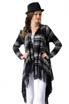 Womens Print Fringe Long Sleeve Asymmetric Cardigan Sweater Navy Blue