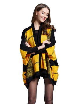 Womens Plaid 3/4 Length Batwing Sleeve Cardigan Sweater Yellow