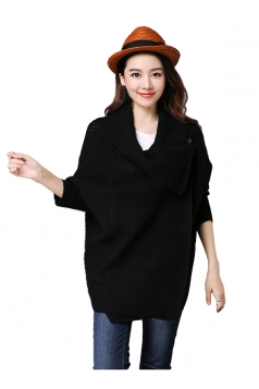 Womens Knitted Asymmetric Long Sleeve Plain Cardigan Sweater Black
