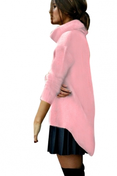 Womens Cowl Neck High-low Plain Pullover Sweater Pink