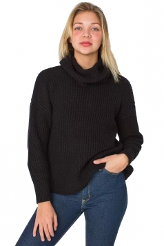 Womens High Turtleneck Loose Pullover Plain Sweater Black