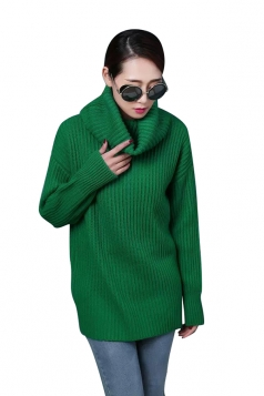 Womens High Turtleneck Loose Pullover Plain Sweater Green