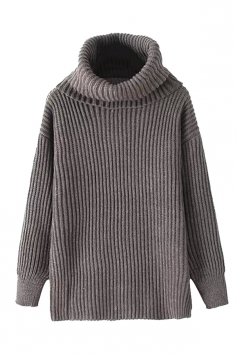 Womens High Turtleneck Loose Pullover Plain Sweater Gray