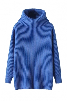 Womens High Turtleneck Loose Pullover Plain Sweater Sapphire Blue