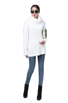 Womens High Turtleneck Loose Pullover Plain Sweater White