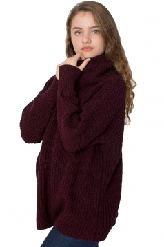 Womens High Turtleneck Loose Pullover Plain Sweater Ruby