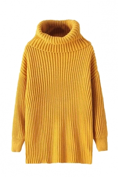 Womens High Turtleneck Loose Pullover Plain Sweater Yellow