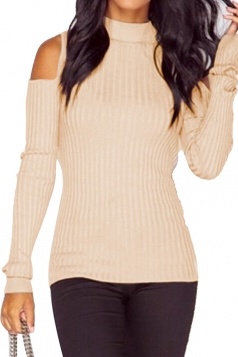 Womens Mock Neck Cold Shoulder Plain Pullover Sweater Apricot
