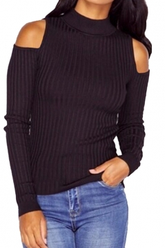 Womens Mock Neck Cold Shoulder Plain Pullover Sweater Black