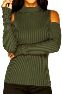 Womens Mock Neck Cold Shoulder Plain Pullover Sweater Green