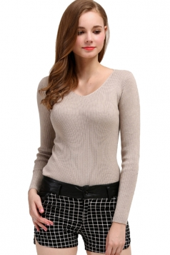Womens V Neck Crochet Elastic Plain Pullover Sweater Camel