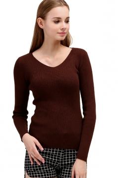 Womens V Neck Crochet Elastic Plain Pullover Sweater Coffee