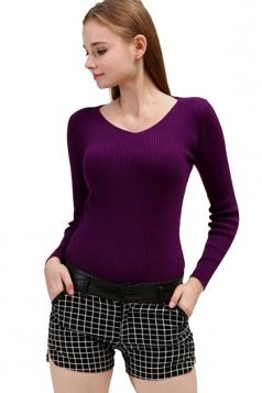 Womens V Neck Crochet Elastic Plain Pullover Sweater Dark Purple
