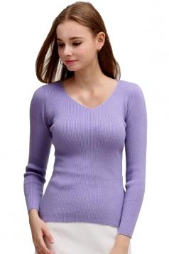 Womens V Neck Crochet Elastic Plain Pullover Sweater Purple