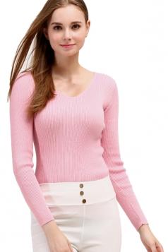 Womens V Neck Crochet Elastic Plain Pullover Sweater Pink