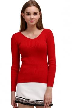 Womens V Neck Crochet Elastic Plain Pullover Sweater Red