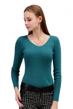 Womens V Neck Crochet Elastic Plain Pullover Sweater Turquoise