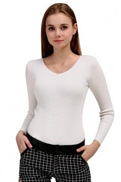 Womens V Neck Crochet Elastic Plain Pullover Sweater White
