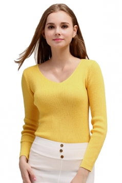 Womens V Neck Crochet Elastic Plain Pullover Sweater Yellow