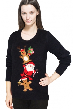 Womens Ugly Christmas Reindeer Patterned Pullover Sweater Black