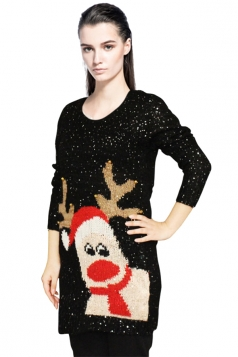 Womens Ugly Sequined Christmas Reindeer Pattern Pullover Sweater Black