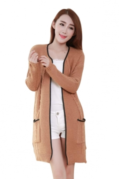 Womens Cable Knitted Long Sleeve Sides Slit Cardigan Sweater Camel
