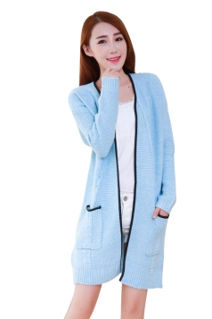 Womens Cable Knitted Pockets Sides Slit Cardigan Sweater Light Blue