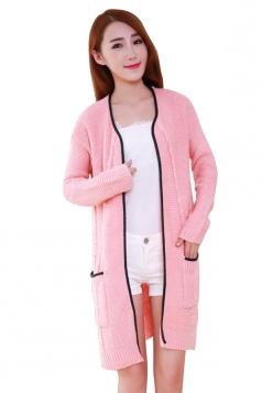 Womens Cable Knitted Long Sleeve Sides Slit Cardigan Sweater Pink