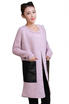 Womens Patchwork Pockets Long Sleeve Cardigan Sweater Pink