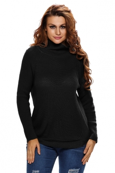 Womens Cowl Neck Pullover Side Zipped Plain Sweater Black