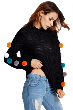 Womens Fur Ball Decor Long Sleeve Pullover Sweater Black