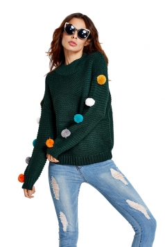 Womens Fur Ball Decor Long Sleeve Pullover Sweater Dark Green