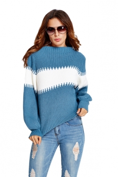 Womens Color Block Puff Long Sleeve Pullover Sweater Blue