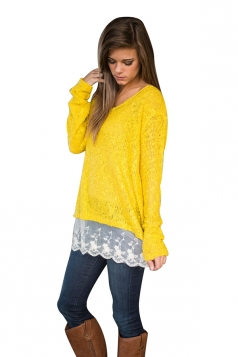 Womens Long Sleeve Lace Patchwork Pullover Sweater Yellow