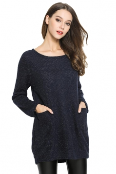 Womens Loose Long Sleeve Pockets Plain Pullover Sweater Black