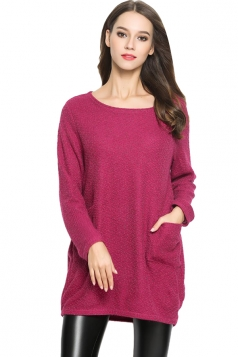 Womens Loose Long Sleeve Pockets Plain Pullover Sweater Rose Red