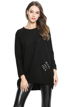 Womens Loose Pocket Decor Long Sleeve Pullover Sweater Black